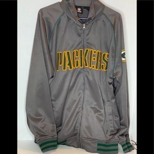 NFL Team PACKERS zip up Gray Jacket LARGE
